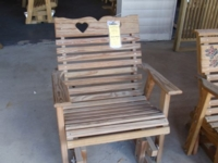 Treated Heart Back Rocker Glider Chair